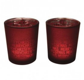 Lot de 2 Bougeoirs en verre 'Rayher' Merry Christmas 6.5 cm