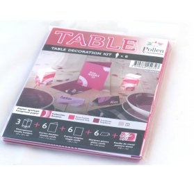 Kit de décoration de table x6 Pollen 'Clairefontaine' Rose