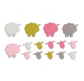 Die-cuts 'Toga' 20 Formes Moutons Rose/Vert/Taupe