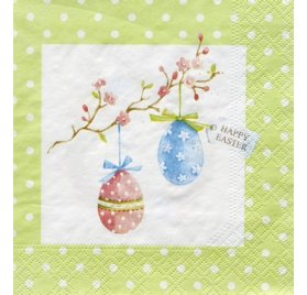 Serviettes 33x33 'Nouveau' Happy Easter Green