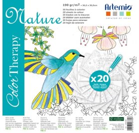 Cahier de coloriages 30x30 'Artemio - Color Therapy' Nature