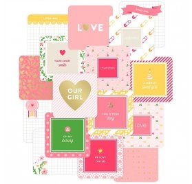 Cartes 10x10 cm Project Life 'American Crafts - Baby Girl Edition' Qté 12