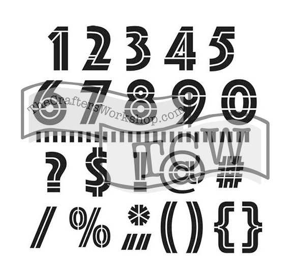 Pochoir 30x30 'The Crafter's Workshop'  Art Deco Numbers & More