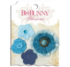 Lot de 4 fleurs 'BoBunny' Denim Blue Dahlia