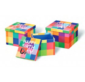 Lot de 3 boîtes gigognes 'BSB' Happy Birthday