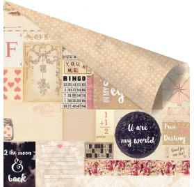 Papier double 30x30 'Prima - Love Clippings' 2 the Moon & Back