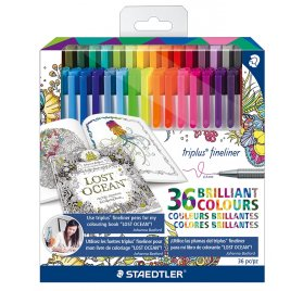 Set de 36 feutres Triplus Fineliner 'Staedtler' Couleurs brillantes 0.3 mm