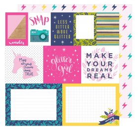 Papier double 30x30 'American Crafts - Glitter Girl' Mix and Match