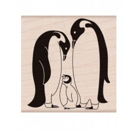 Tampon bois 'Hero Arts' Classic Penguin Family