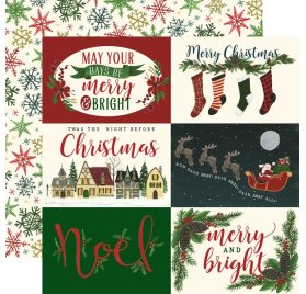 Papier double 30x30 'Echo Park Paper - Twas The Night Before Christmas'  Horizontal 4x6 Journaling Cards