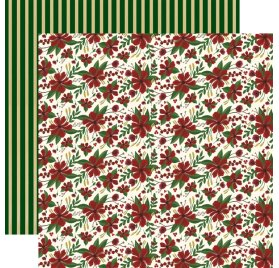 Papier double 30x30 'Echo Park Paper - Twas The Night Before Christmas' Merry Flowers