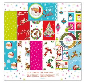 Assortiment 30x30 'Docrafts - Love Santa' Qté 36