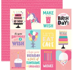 Papier double 30x30 'Echo Park Paper - Happy Birthday' 3x4 Journaling Cards