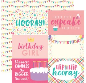 Papier double 30x30 'Echo Park Paper - Happy Birthday' 4x6 Journaling Cards