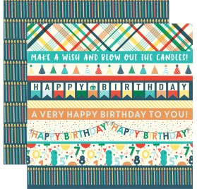 Papier double 30x30 'Echo Park Paper - Happy Birthday' Border Strips