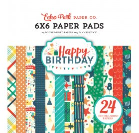 Assortiment 15x15 'Echo Park Paper - Happy Birthday Boy' Qté 24