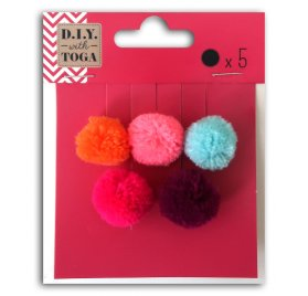 Lot de pompons ronds 'Toga -Fond de tiroir ' Juicy 2 cm Qté 5