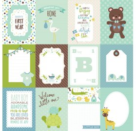 Papier double 30x30 'Echo Park Paper - Sweet Baby Boy' Journaling Cards