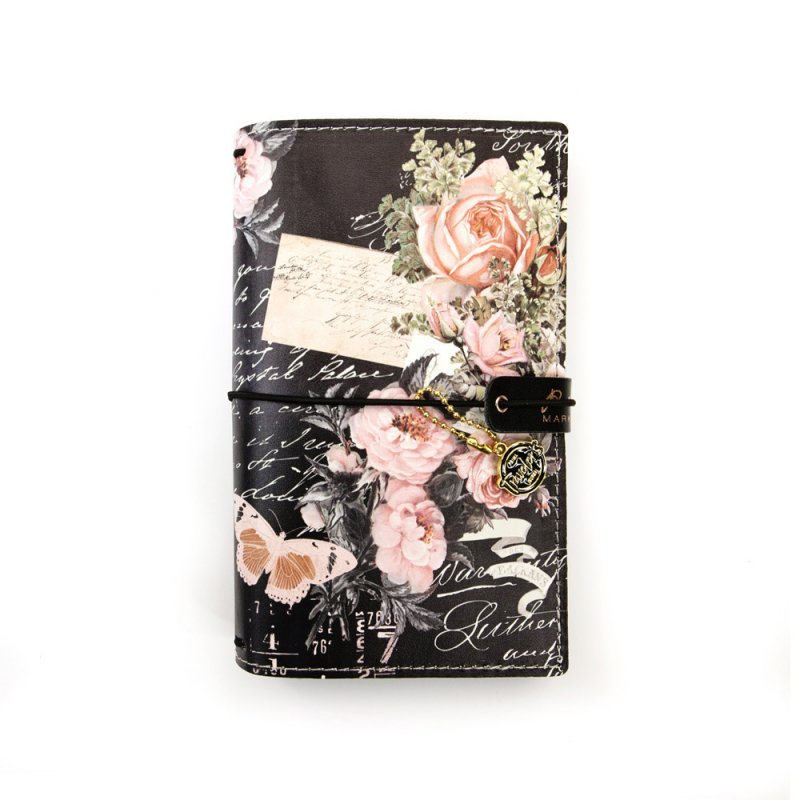 couverture en cuir pour carnet 39 prima traveler 39 s journal 39 vintage floral la fourmi creative. Black Bedroom Furniture Sets. Home Design Ideas