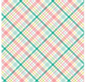 Papier double 30x30 'Echo Park Paper - Hello Easter' Spring Plaid