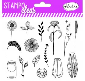 15 Tampons transparents 'Aladine - Stampo Clear' Botanic