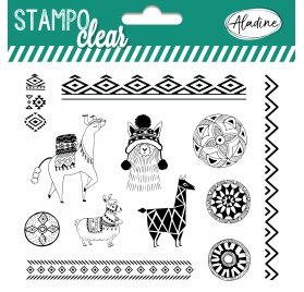 14 Tampons transparents 'Aladine - Stampo Clear' Ethnic Lama