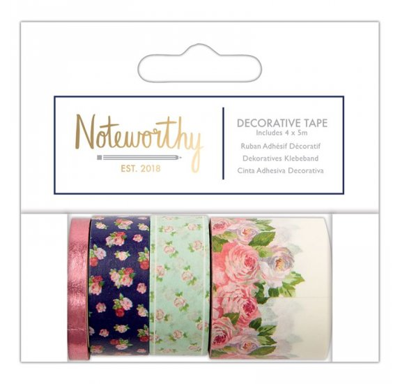 4 masking tapes de 5m 'Docrafts - Noteworthy' Graphic Florals