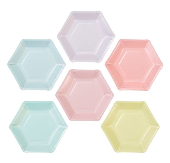 Lot de 12 petites assiettes en carton 18.5x16 cm 'Talking Tables - We Heart Pastels' Hexagonales 6 couleurs