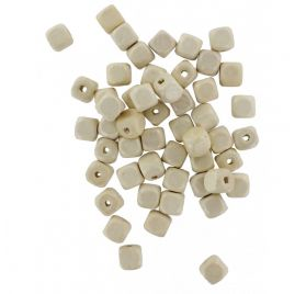 Lot de 200 perles en bois vernis 'La Fourmi' Cubes Naturel 10x10 mm