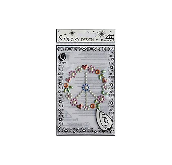Strass thermocollant 'Ki-Sign' Peace and love 7.5x7.5 cm
