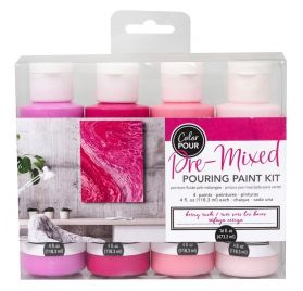 Lot de 4 peintures fluides 'American Crafts - Color Pour' Berry Rush 4x118.3 ml