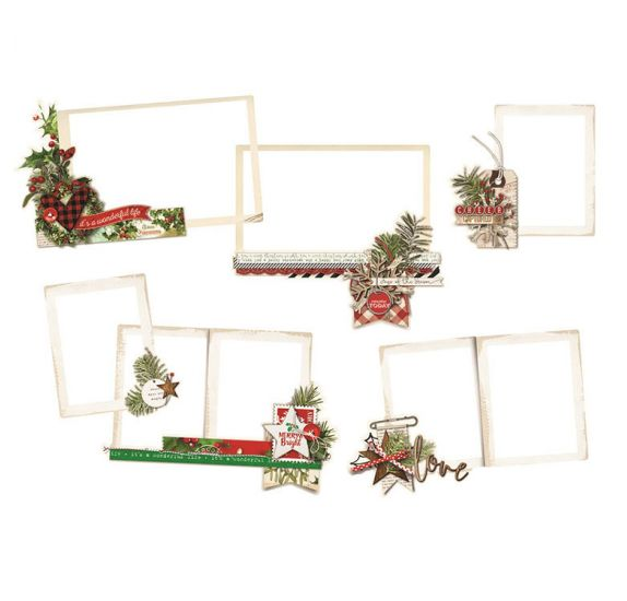 6 Die-cuts 'Simple Stories -Simple Vintage Christmas' Layered Frames