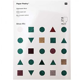 Assortiment A4 de 10 papiers pailletés 'Rico Design' Xmas Mix
