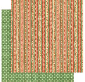 Papier double 30x30 'Graphic 45 - Christmas Magic' Candy Cane Ribbons