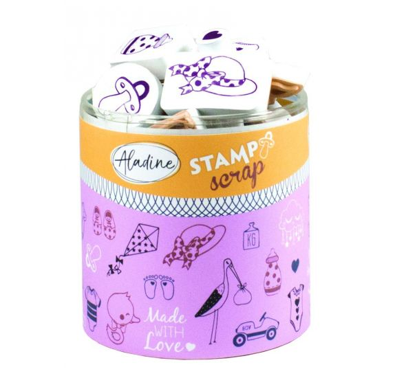 "Kit Stampo Scrap -Tampons ""naissance"" - Aladine"