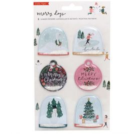 6 Autocollants shaker Puffy 'Crate Paper - Merry Days' Boule à neige