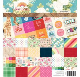 Assortiment de 12 papiers 30x30 et 16 ephemera 'Webster's Pages - Changing Colors '