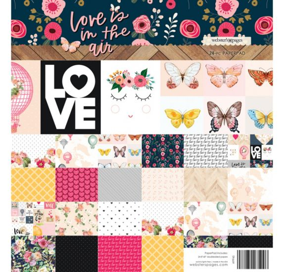 Assortiment de 24 papiers 20x20 'Webster's Pages - Love is in the air '