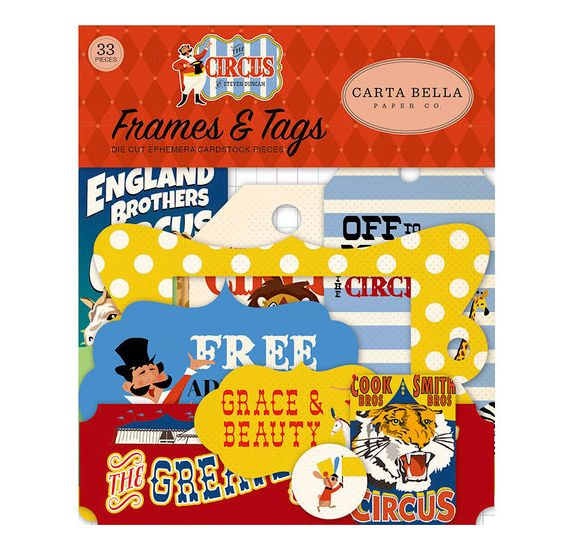 33 die-cuts 'Carta Bella - The Circus ' Tags & Frames