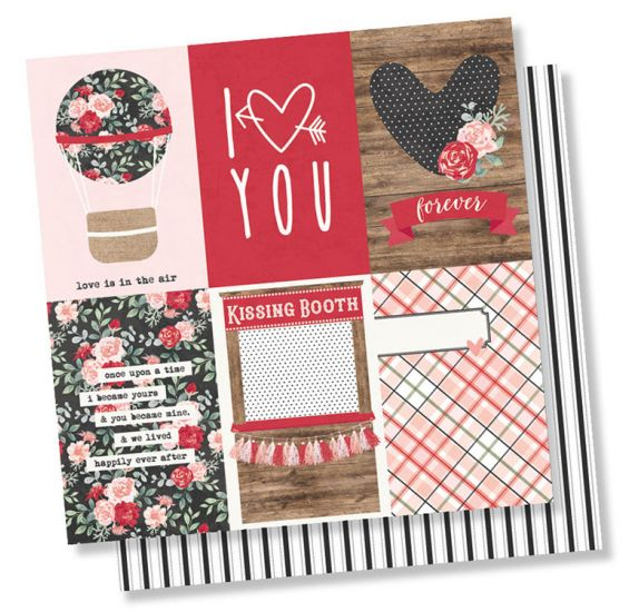 Papier double 30x30 'Simple Stories - Kissing Booth' 4x6 Vertical Elements