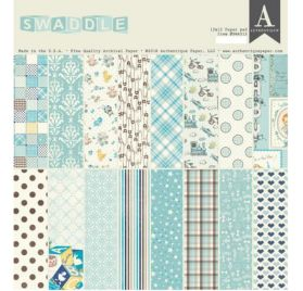 Assortiment de 24 papiers doubles 30x30 'Authentique - Swaddle Boy'