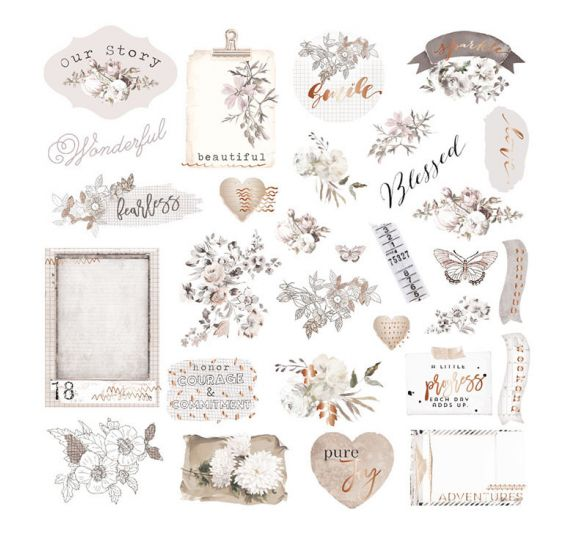 40 Die-cuts 'Prima - Pretty Pale' Ephemera