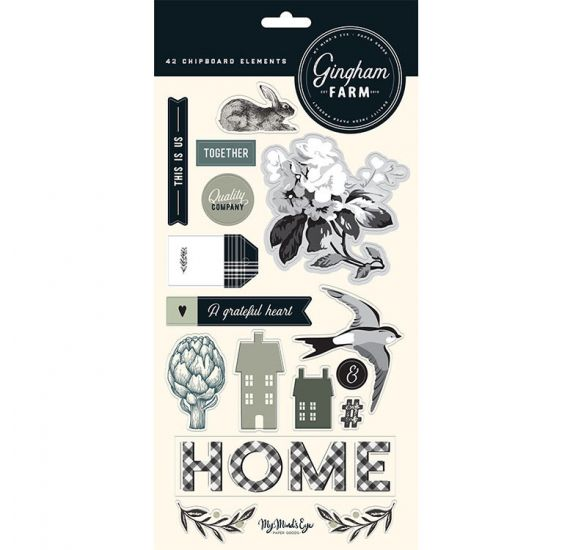 42 Chipboards 'My Mind's Eye - Gingham Farms'