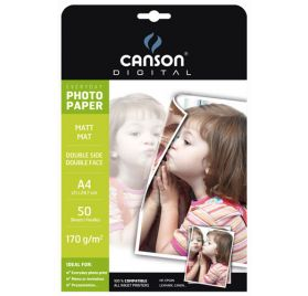 50 Papiers Photo 21x29.7 cm 'Canson' Mat double face 170 gr/m²
