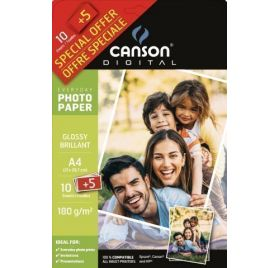 10 Papiers Photo 21x29.7 cm + 5 offerts 'Canson' Brillant 180 gr/m²