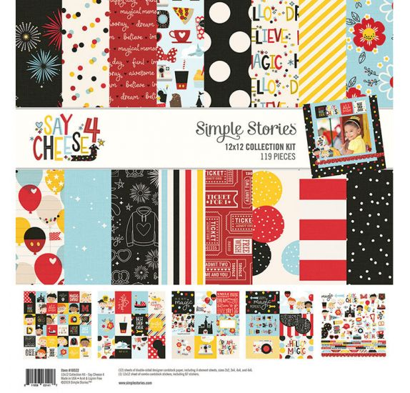 Assortiment de 12 papiers doubles 30x30 et 1 planche d'autocollants 30x30 'Simple Stories - Say Cheese 4'