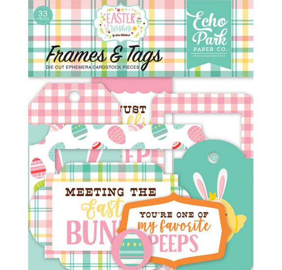 33 Die-cuts 'Echo Park Paper - Easter Wishes' Cadres et Tags