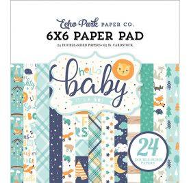 Assortiment de 24 papiers 15x15 'Echo Park Paper - Hello Baby It's a boy'
