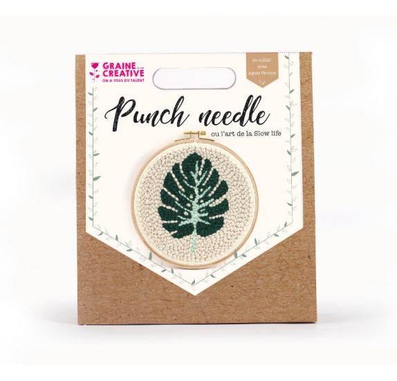Kit Punch Needle 'Graine Créative by PW' Feuille monstera 20 cm