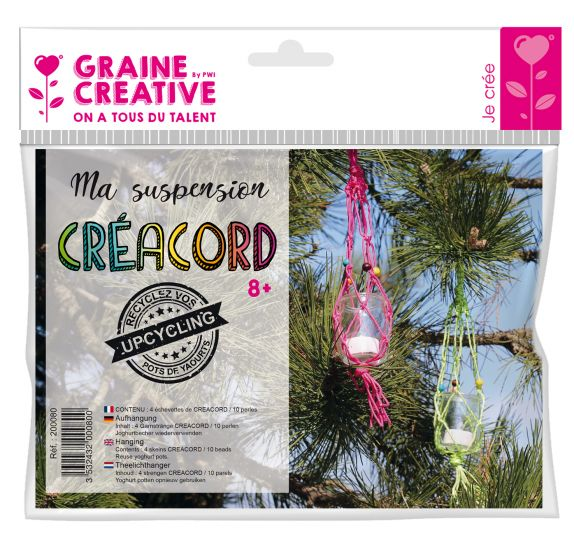 Kit Ma suspension Créacord  'Graine Créative by PW' Kiwi et fuchsia